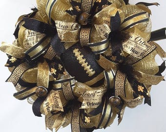 New Orleans Saints, NFL Wreath, Saints Wreath, Who-Dat Wreath, Sports Wreath, Tailgate Wreath, Sports Fan Wreath, Football Wreath, Man Cave