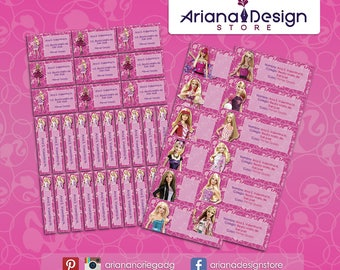 Printable and personalized Barbie name tags - school stickers - Barbie Labels