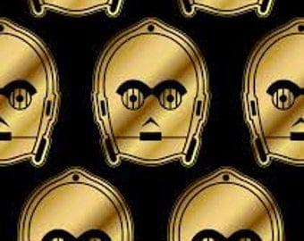 "Star Wars gold c3po fabric by Camelot fabrics, By the Half Yard, 44"" wide, cotton - movie fabric - lucasfilm"