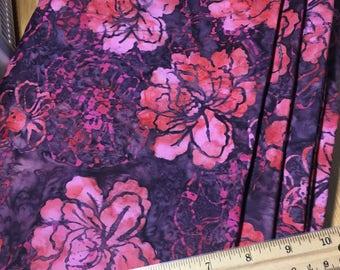 "Batik, Red, Pink, Purple Floral Fabric, By the Half Yard, 44"" wide, 100% cotton, batik fabric, Batik floral, pink batik, cotton fabric"