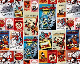 "Mickey and minnie Comic by Springs Creative, By the Half Yard, 43"" wide, 100% cotton, disney fabric, mickey fabric, licensed fabric"