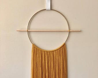 Scandi Mustard Wall Hanging with faux leather strap