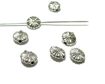 PAX 30 beads spacer 150610165534 ANTIQUE silver metal flowers
