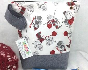 Large Knitting Bag, Sheep Project Bag, Crochet Project Bag, Knitting Project Tote, Craft Tote, Craft Bag