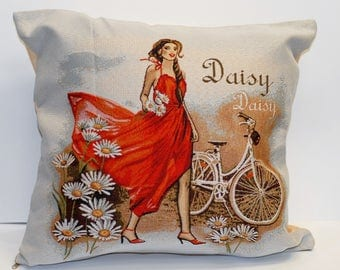 Decorative Pillow, Cushion, Tapestry Pillow, Named Daisy