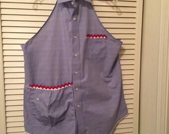 Repurposed Men's Shirt Apron/ Blue-Red/ OOAK