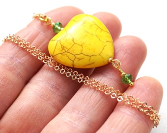 Boho Jewelry Heart Necklace Thin Gold Chain YELLOW Heart GREEN Crystals Colorful Necklace Friendship Inspiration Gift Bright Heart Charm
