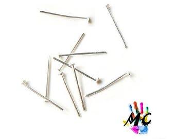 20 flat head pins, silver metal: 1.6 cm