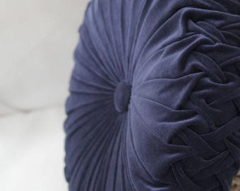 Large Dusty Blue (Indigo) Vintage Style Velvet Cushion