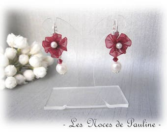 Burgundy and ivory earrings Daisy c