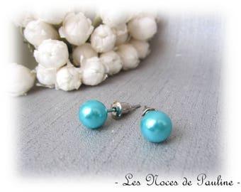 Earrings turquoise mother of Pearl Stud pierced earrings