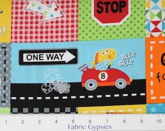 Go Go! Dino! by Susan Cousineau for Marcus Fabrics ~ BLOCKS ~ 9726-0128 MLT ~ By The Half Yard ~