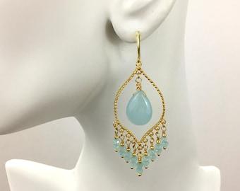 Blue Chandelier Earrings Blue Chalcedony Chandelier Dangle Earrings Blue Chalcedony Beaded Gypsy Statement Earrings Bohemian Hippie Ethnic