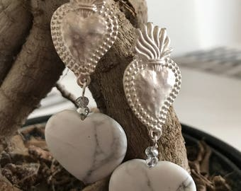 Handcrafted earrings with silver Swarovski crystals and sacred heart stone heart Amethyst white two small if interested please contact the
