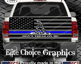 Police Dont Tread on me Thin Blue Line Truck Tailgate Wrap Vinyl Graphic Decal Sticker Wrap
