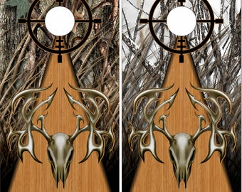 Tribal Buck Skull Camo Hunter LAMINATED Cornhole Wrap Bag Toss Decal Baggo Skin Sticker Wraps