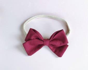 Baby headband bow maroon girls hair accessories burgandy baby bow headband girls nylon bow