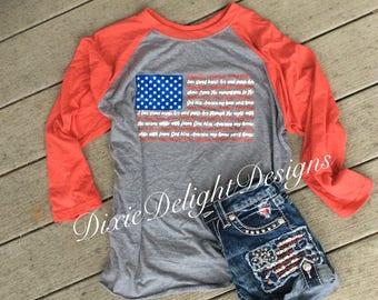 God Bless America Lyrics Fourth of July Raglan