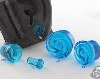 """Single Flare Pacific Blue Rose Glass Plugs 2g, 0g, 10mm, 7/16"""", 1/2"""" (12.5mm), 9/16"""", 5/8"""", 3/4"""", 7/8"""", 1"""""""