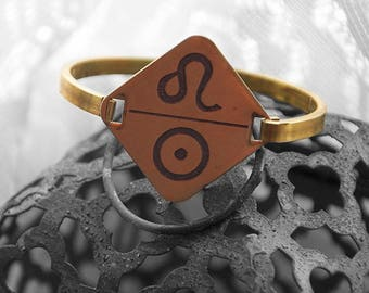 Etched Brass Zodiac and Ruling Planet Swing-Hinge Cuff, Leo and Sun