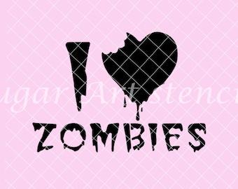 I love zombies Stencil Nb1612