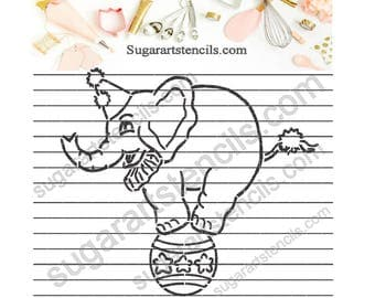PYO cookie Stencil circus elephant paint your own NB700323