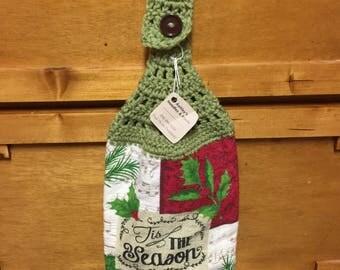 Ready to ship / christmas kitchen towel / crochet topper / crochet kitchen topper / kitchen towel / tea towel