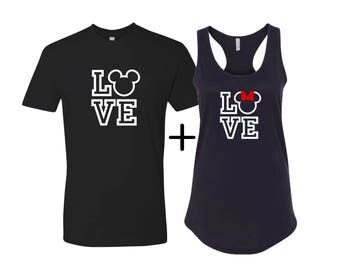 Love disney inspired shirts, Hubby and Wifey shirts, Disney couples shirts, Gift for her, Gift for him, Disney couples tess, LOVE matching