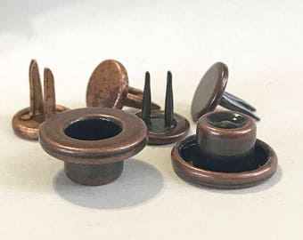 "Antique-copper Plain 14mm Button ""LP-CL-14""[Set of 6]"