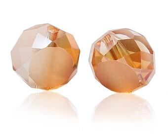 """""""Flat round"""" à facettes en verre Orange 10 mm 10 beads"""