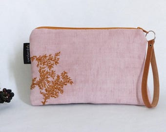 Pink embroidered pouch / foliage pattern / nature / pastel pink clutch / smartphone Pocket / pouch and leather / pink bag