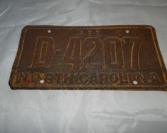 1966 North Carolina License Plate - Vintage Car / Automobile Tag - Primitive, Distressed, Rusty and Rustic Home Decor or Art Part       48-6