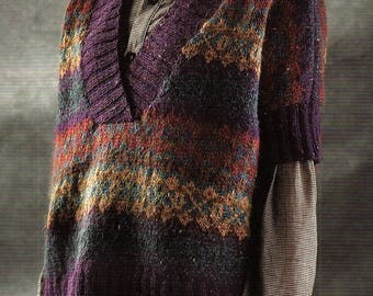 Poncho Style Sweater, Fair Isle And Plain, Knitting Pattern. PDF Instant Download.
