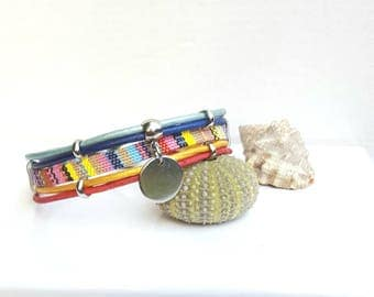 """Santorini"" multicolored fabric leather Cuff Bracelet"