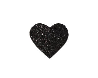 Black glitter heart brooch