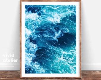 Ocean Waves Print, Sea Photography, Ocean Water Wall Art, Large Poster, Beach Decor, Printable Download, Modern Coastal Decor, Blue Wall Art