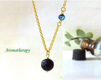 Lava Essential Oil Necklace With Tiny Evil Eye, Black Lava Diffuser Necklace, Blue Glass Evil Eye, Sterling Silver Chain, Inspirational Lava