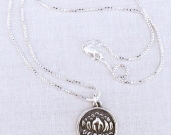 Lotus Necklace, Lotus Flower Charm, Lotus Charm, Lotus Bloom Pendant, Yoga Charm