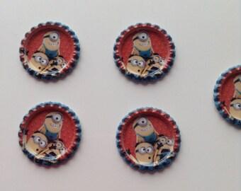 SET of 5 APPLIQUE cabochon Minions bottle cap