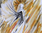 ORIGINAL Angel Watercolor Painting,  Christmas Painting, Original Art Wall Hanging, watercolor Angel