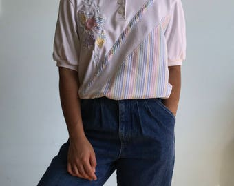 Vintage sz S white pastel patterned collared shirt