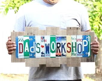 Gift for Dad - Dad's Garage Sign - License Plate Art - Custom Dad's Workshop Sign - Wooden Garage Sign - Custom Sign for Dad