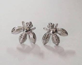 bee stud earrings, tiny sterling studs, bee earrings, honey bee earrings, bumble bee earrings, bee jewelry, insect earrings, animal earrings