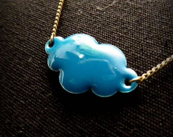 Brass cloud blue enamel necklace