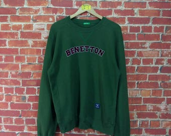 UNITED COLORS BENETTON Sweatshirt Medium Green Vintage 90s Benetton Sportswear Benetton Spell Out Pullover Benetton Jumper Sweater Size M