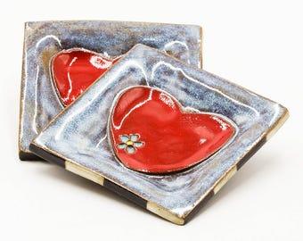 Heart Ring Dish | Jewelry Holder | Jewelry Dish | Trinket Dish | Ceramic Ring Dish | Square Ring Dish | Handmade Pottery | Gift for Her