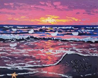 Inspirational beach painting, oil painting original, seascape artwork, by Ryan Kimba
