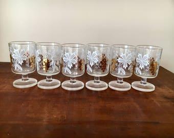 6 x Vintage shot glasses retro floral gold autum leaves