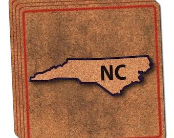 North Carolina Nc State Outline On Faded Blue Thin Cork Coaster Set Of 4