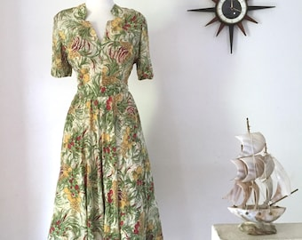 1940s Lucy Secor floral silky rayon day dress